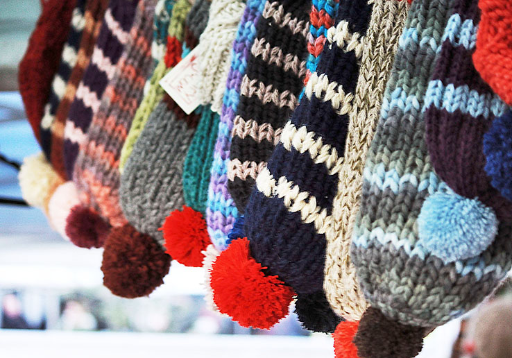 Woolly hats at Herne Hill market