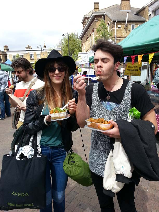 Mmm! Clearly enjoying the hot food on offer at Herne Hill!