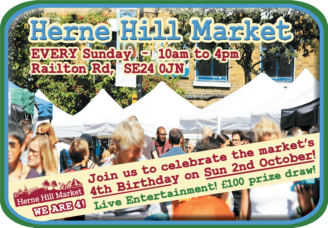 4th Birthday Celebrations on Sat 1st Oct at Herne Hill Farmers' Market - 10am to 4pm!